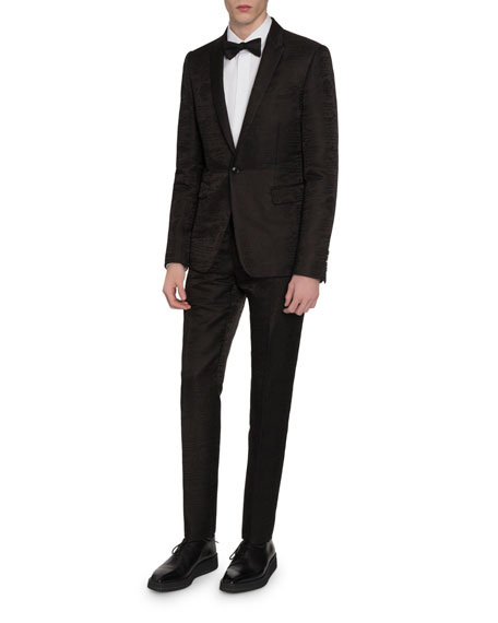 Men's Tonal Scritto Jacquard One-Button Jacket
