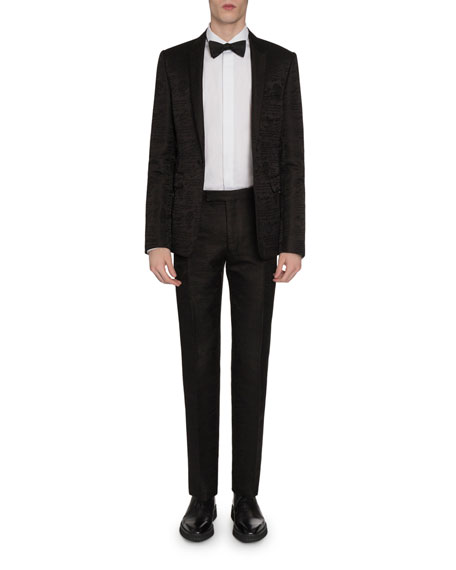 Men's Tonal Scritto Jacquard One-Button Jacket