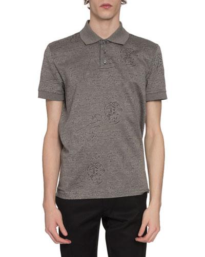 Men's Scritto-Print Polo Shirt  Gray