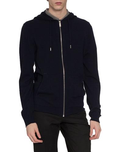 Men's Zip-Front Cashmere/Silk Hoodie