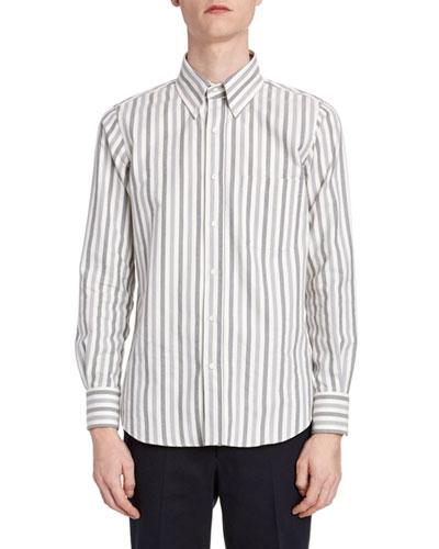 Men's Herringbone Flannel Striped Sport Shirt