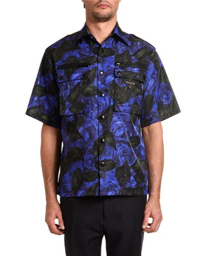 Men's Rose-Print Gabardine Short-Sleeve Sport Shirt