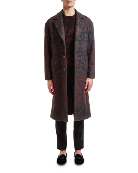 Men's Damask Floral Print Wool Coat