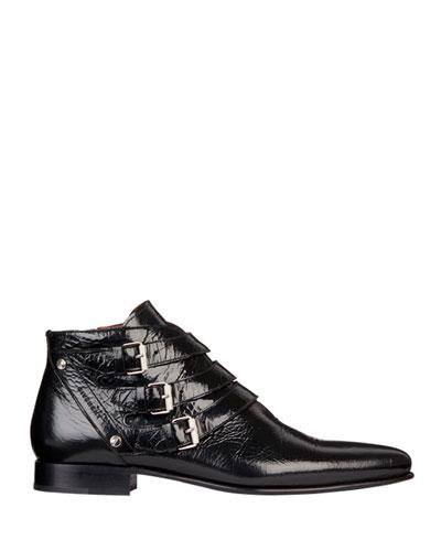 Men's Dallas Triple-Monk Strap Leather Ankle Boots