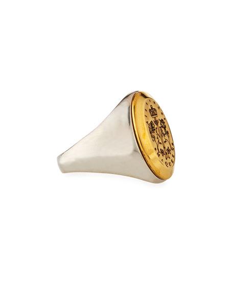 Men's Crest Logo Signet Ring, Size 9-10