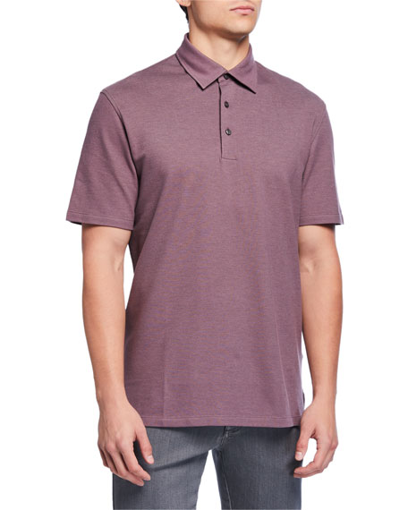 Men's Pique Polo Shirt, Dark Pink