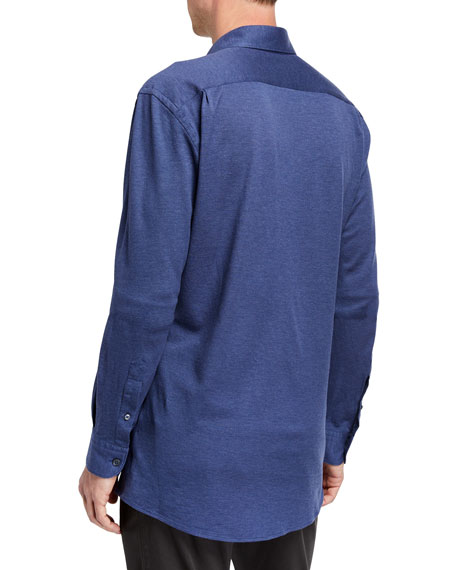 Men's Heathered Jersey Sport Shirt