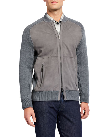 Men's High-Performance Leather/Wool Zip Sweater