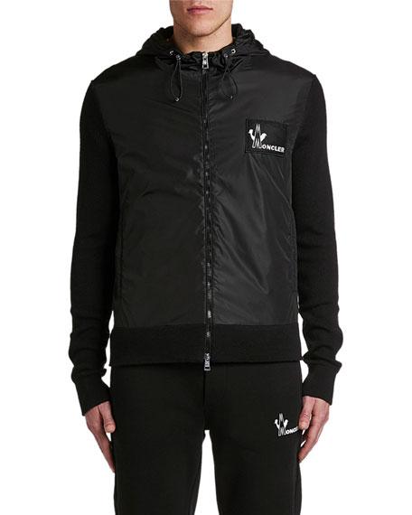 Men's Hooded Logo-Patch Zip-Front Hoodie