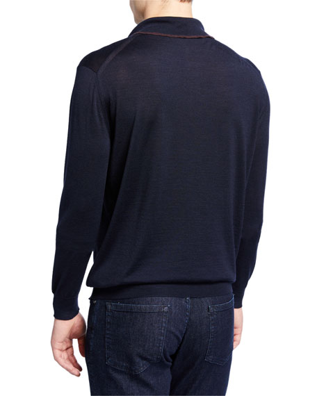 Men's Long-Sleeve Polo Shirt w/ Contrast Trim