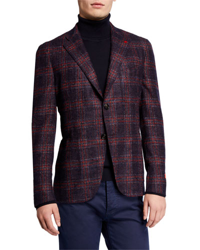 Men's Plaid Alpaca-Blend Sport Jacket