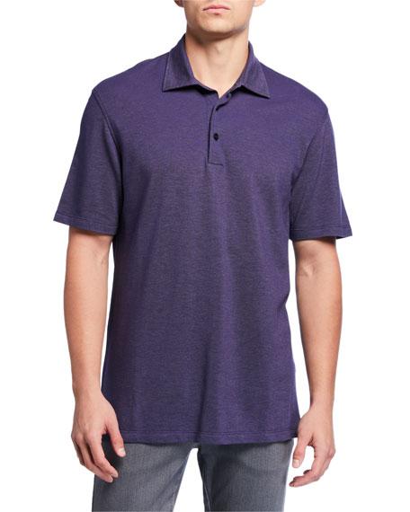 Men's Pique Polo Shirt, Medium Blue