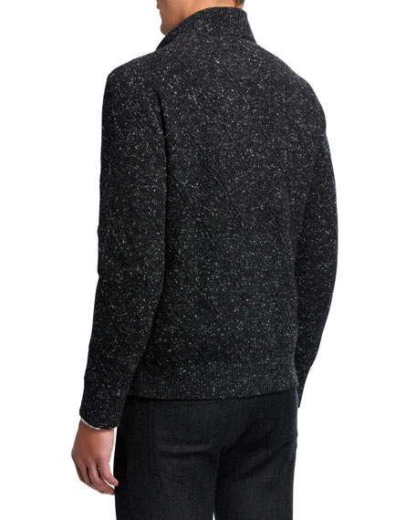 Men's Donegal Knit Zip-Front Sweater