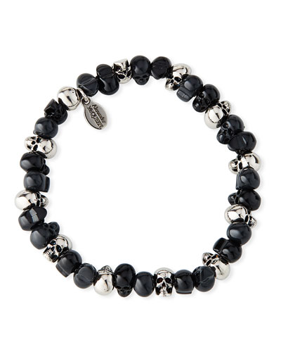Men's Beaded Skull Stretch Bracelet