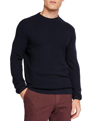 Men's Textured Wool/Cashmere Crewneck Sweater