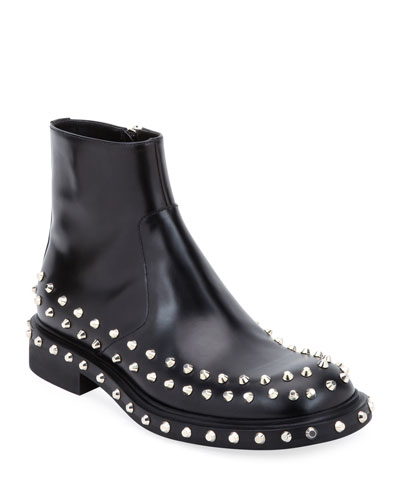 Men's Side-Zip Studded Ankle Boots