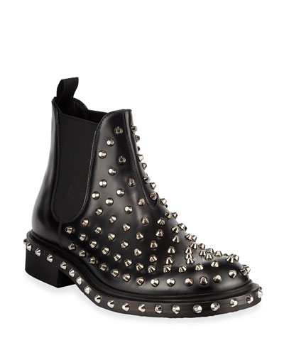 Men's Tronchetti Studded Leather Chelsea Boots