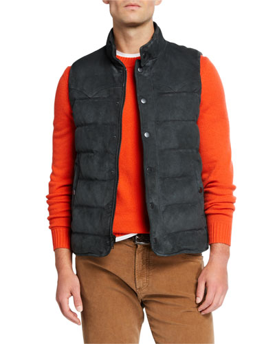 Men's Water-Repellant Suede Padded Vest