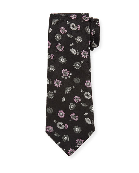 Men's Floral Silk-Blend Tie