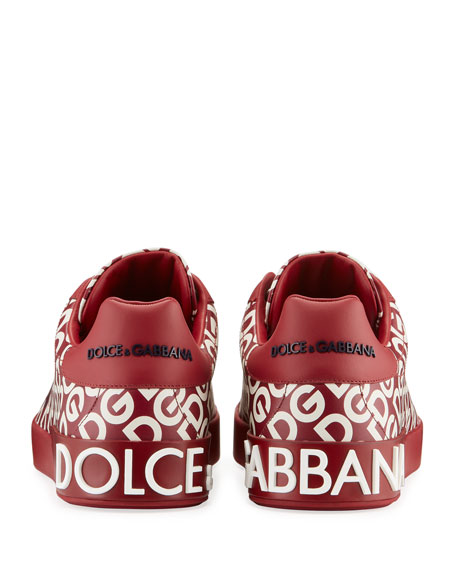 Men's Portofino Logo Mania Leather Low-Top Sneakers