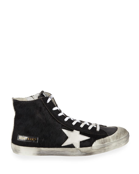 Men's Francy High-Top Calf Hair Sneakers w/ Dirty Treatment