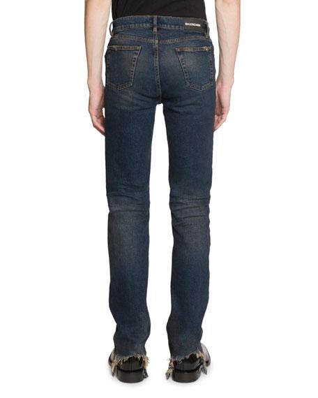 Men's Fitted 5-Pocket Jeans with Hem Detail