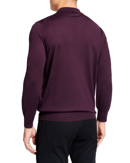 Men's Solid Wool-Cashmere Polo Sweater