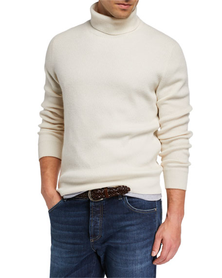 Men's Solid Cashmere Turtleneck Sweater