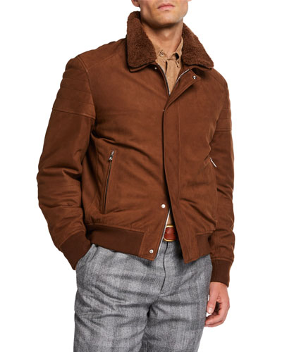 Men's Suede Moto Jacket with Shearling Collar