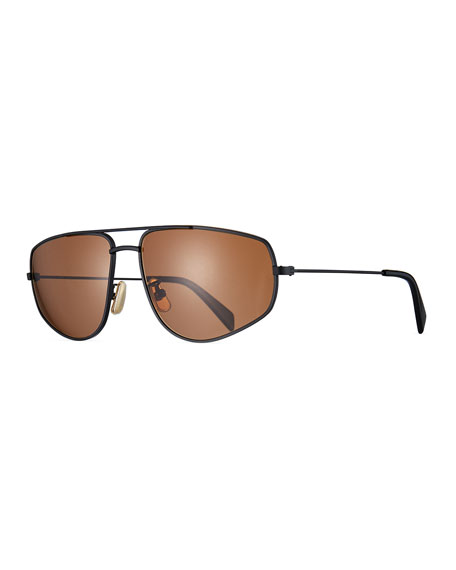 Image 1 of 1: Men's Geometric Rectangle Metal Sunglasses