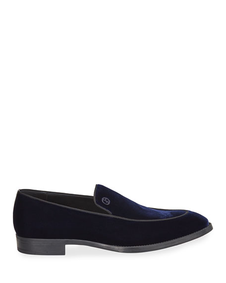 Men's Velvet Formal Loafers, Navy