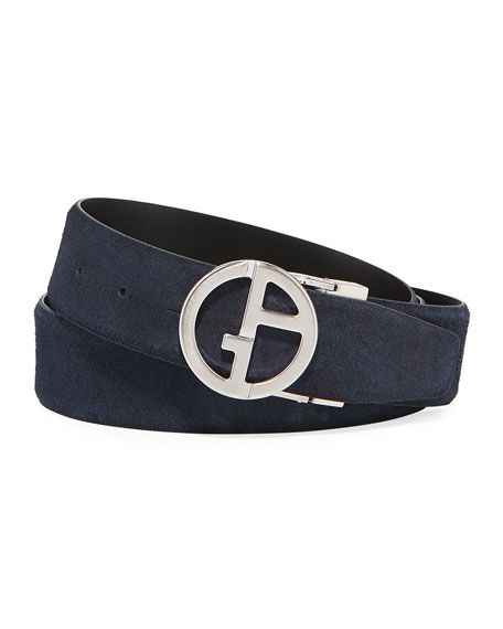 Image 1 of 1: Men's Reversible Suede/Leather Logo-Buckle Belt