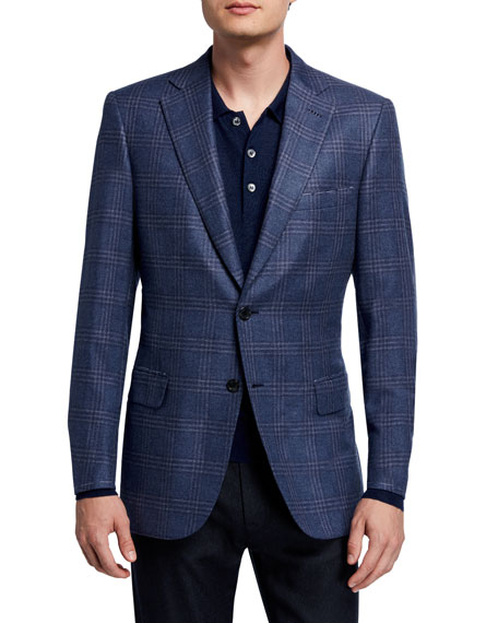 Men's Plaid Two-Button Jacket