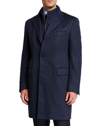 Men's Cashmere Top Coat w/ Removable Dickey