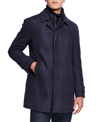 Men's Plaid Wool-Blend Raglan Topcoat