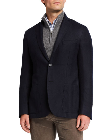 Men's Herringbone Soft Jacket w/ Suede Dickey
