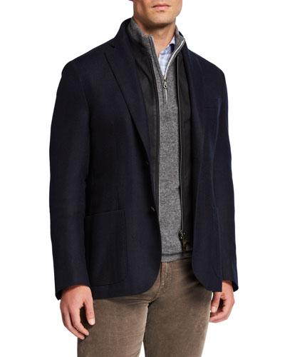 Men's Herringbone Soft Jacket w/ Suede Dickey