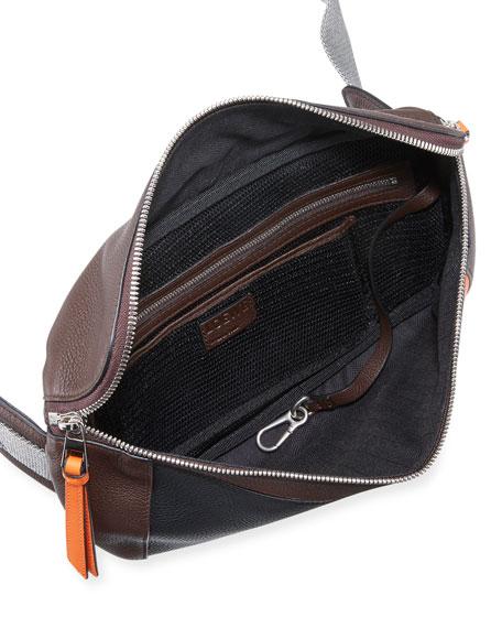 Men's Puzzle Colorblock Leather Sling Bag