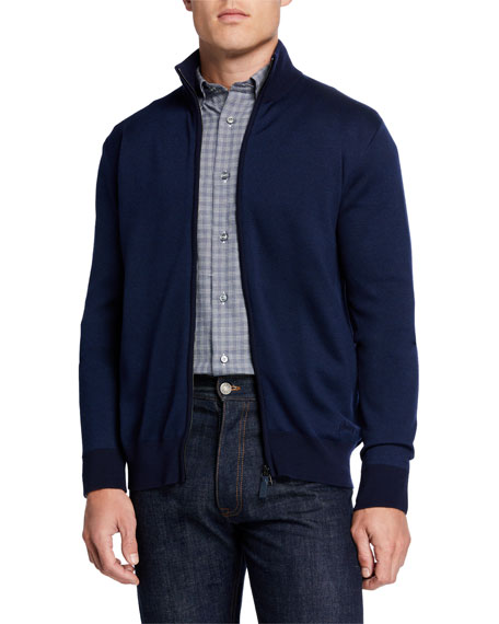 Men's Pique Zip-Front Sweater