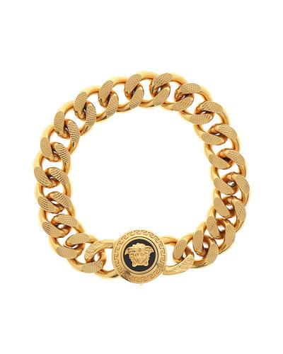 Men's Tribute Medusa Head Textured Link Bracelet