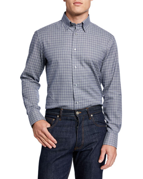 Men's Houndstooth Cotton-Cashmere Sport Shirt
