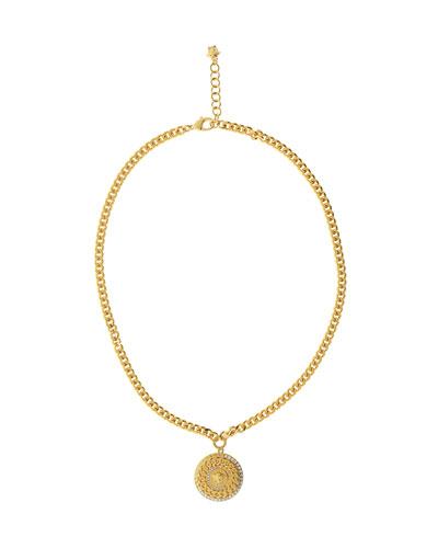 Men's Crystal Medusa Head Pendant Necklace
