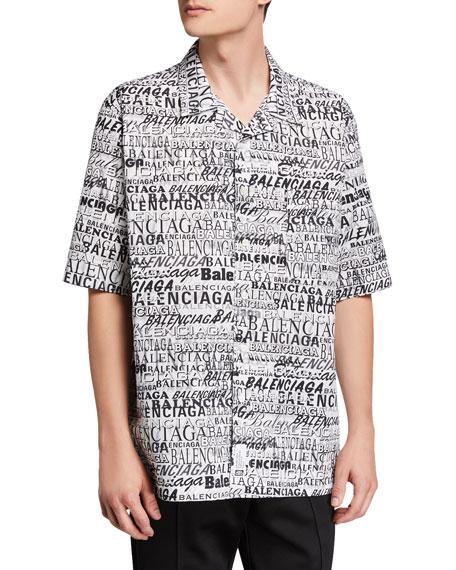 Men's Multi-Logo Typographic Sport Shirt