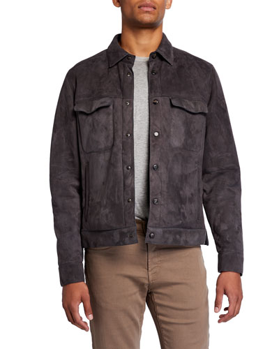 Men's Valstarino Suede Snap-Front Jacket
