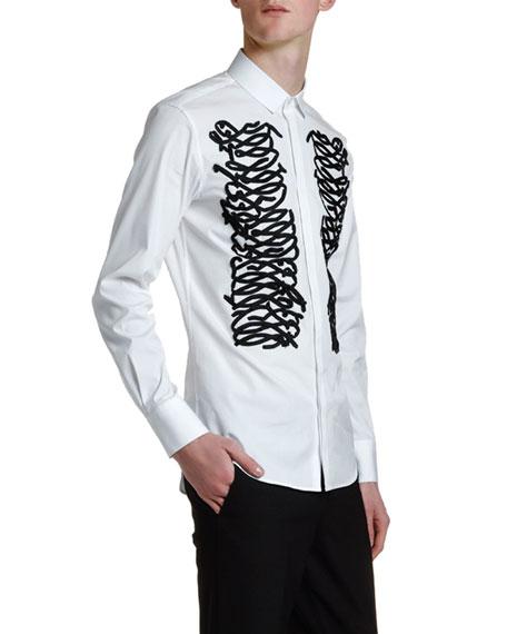 Men's Ribbon-Trim Tuxedo Shirt