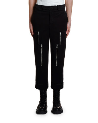 Men's Multi-Zipper Cuffed Cargo Pants