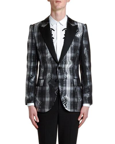 Men's Distorted Tartan Jacquard Two-Button Jacket