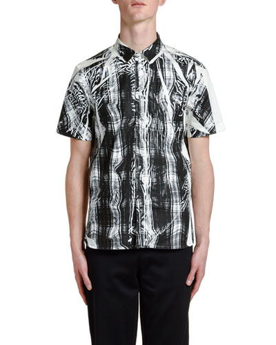 Men's Distorted Tartan Short-Sleeve Sport Shirt