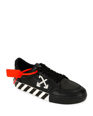 Off-White Men's Arrow Leather Sneakers with Stripes