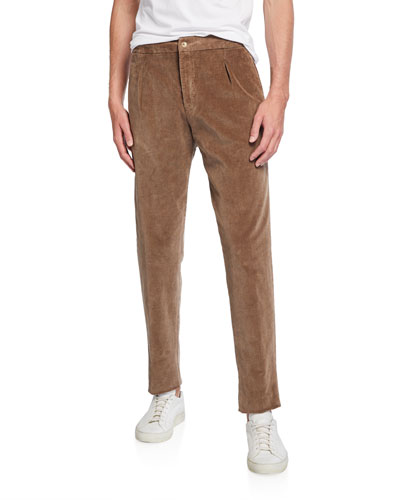Men's Pleated Corduroy Trousers with Elastic Waist  Beige